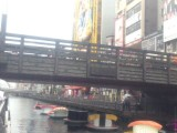 It's real! We could see floating giant sushi plates on Osaka iconic canal